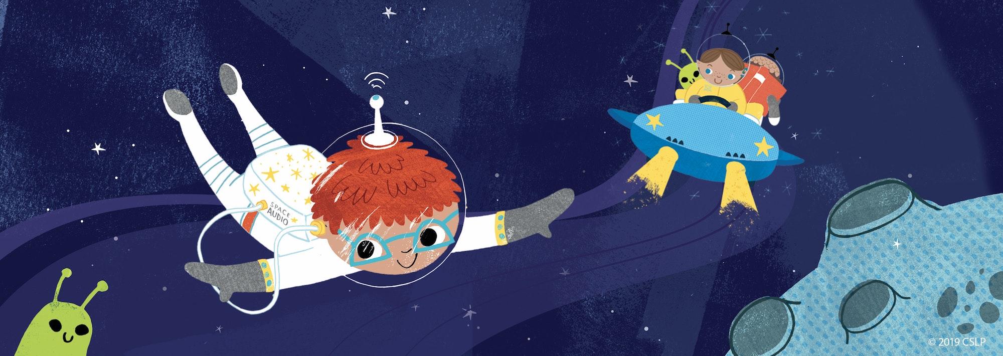 picture child astronauts, aliens and spaceship cartoon