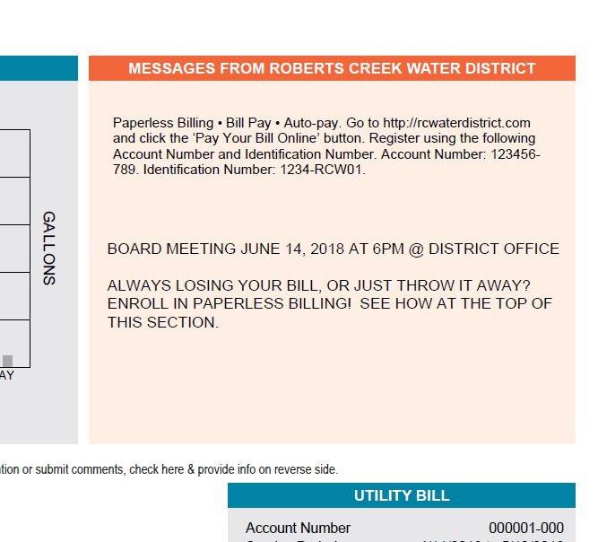 Paperless Billing! - Roberts Creek Water District