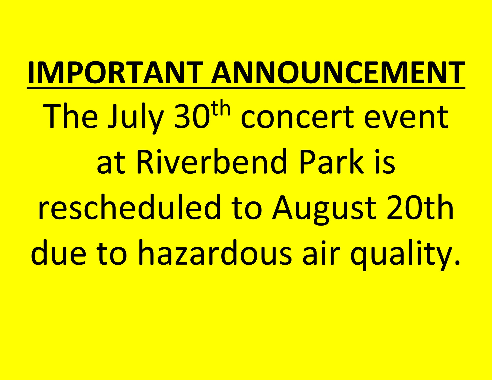 Concert Rescheduled