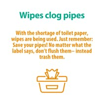 Wipes clog pipes notice