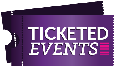 graphic of tickets, purple, bar code, ticket, ticketed events