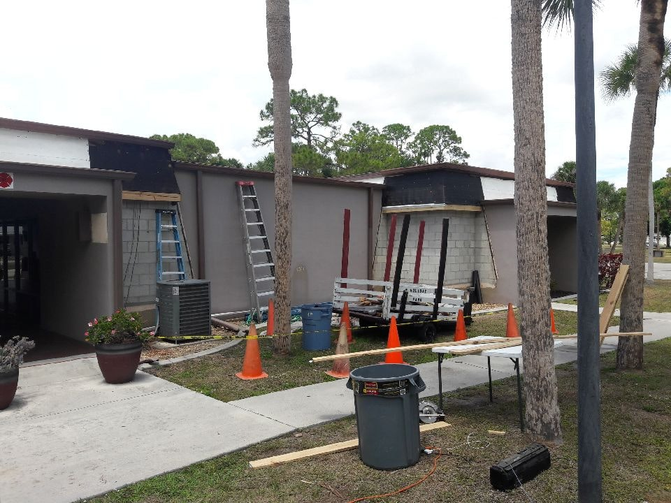 Phase II Renovations 2019 - front of the building in progress