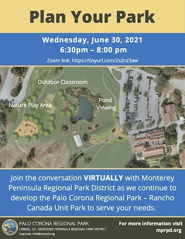 Flier with overhead view of proposed park layout