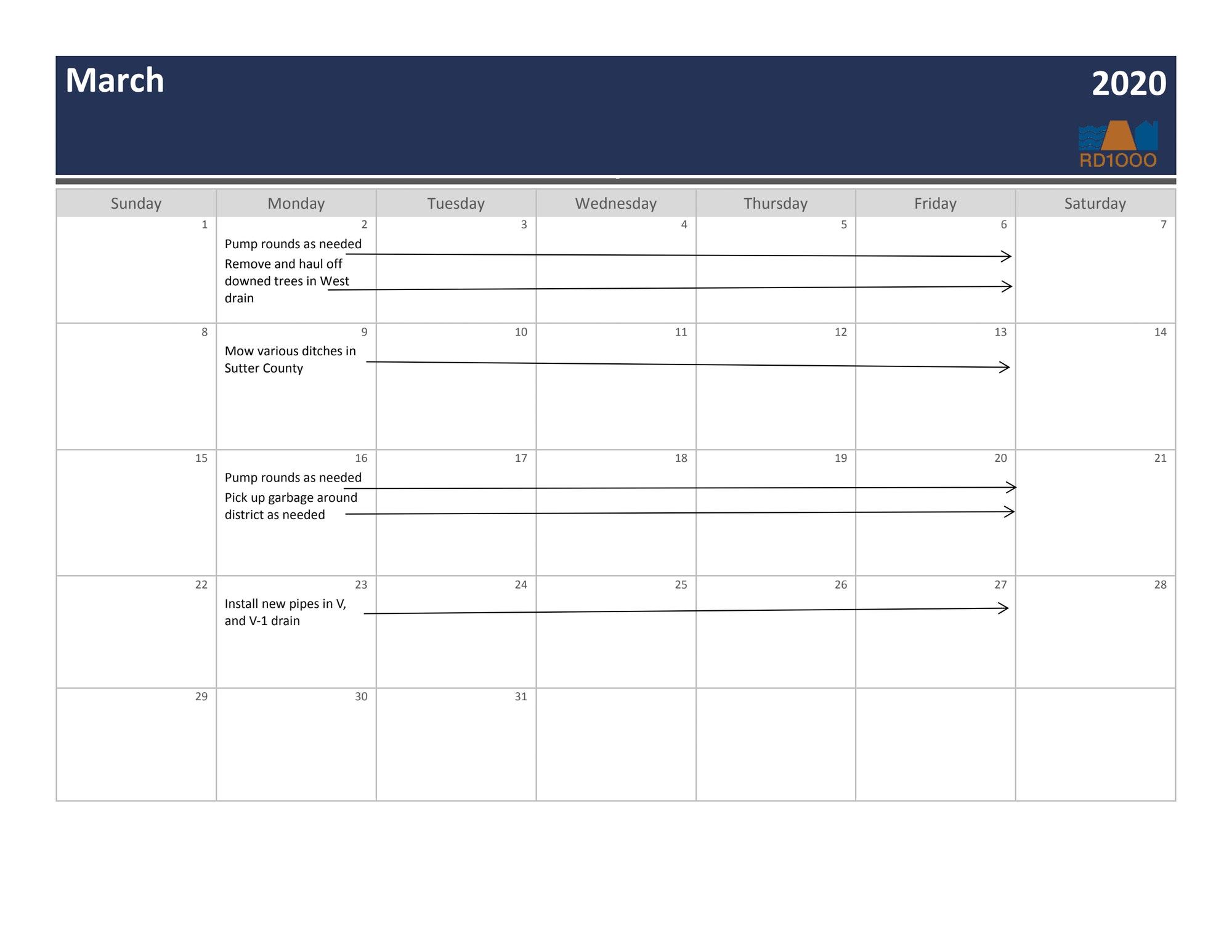 March 2020 Maintenance Calendar