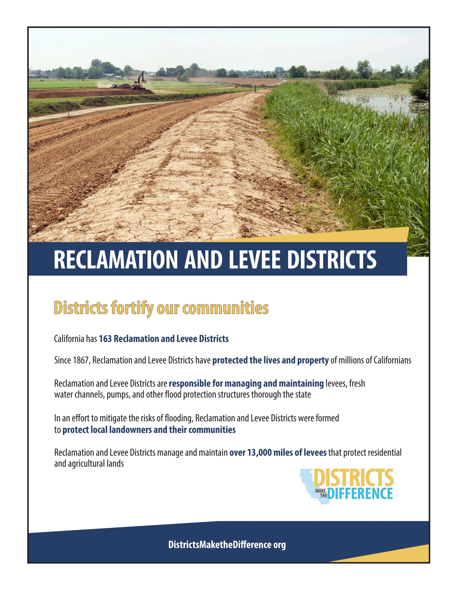 Districts Make a Difference Flyer about Reclamation and Levee Districts