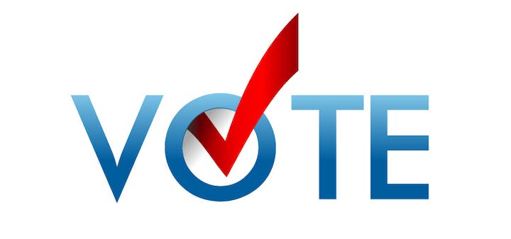 "blue ""vote"" with red check mark in ""o"""