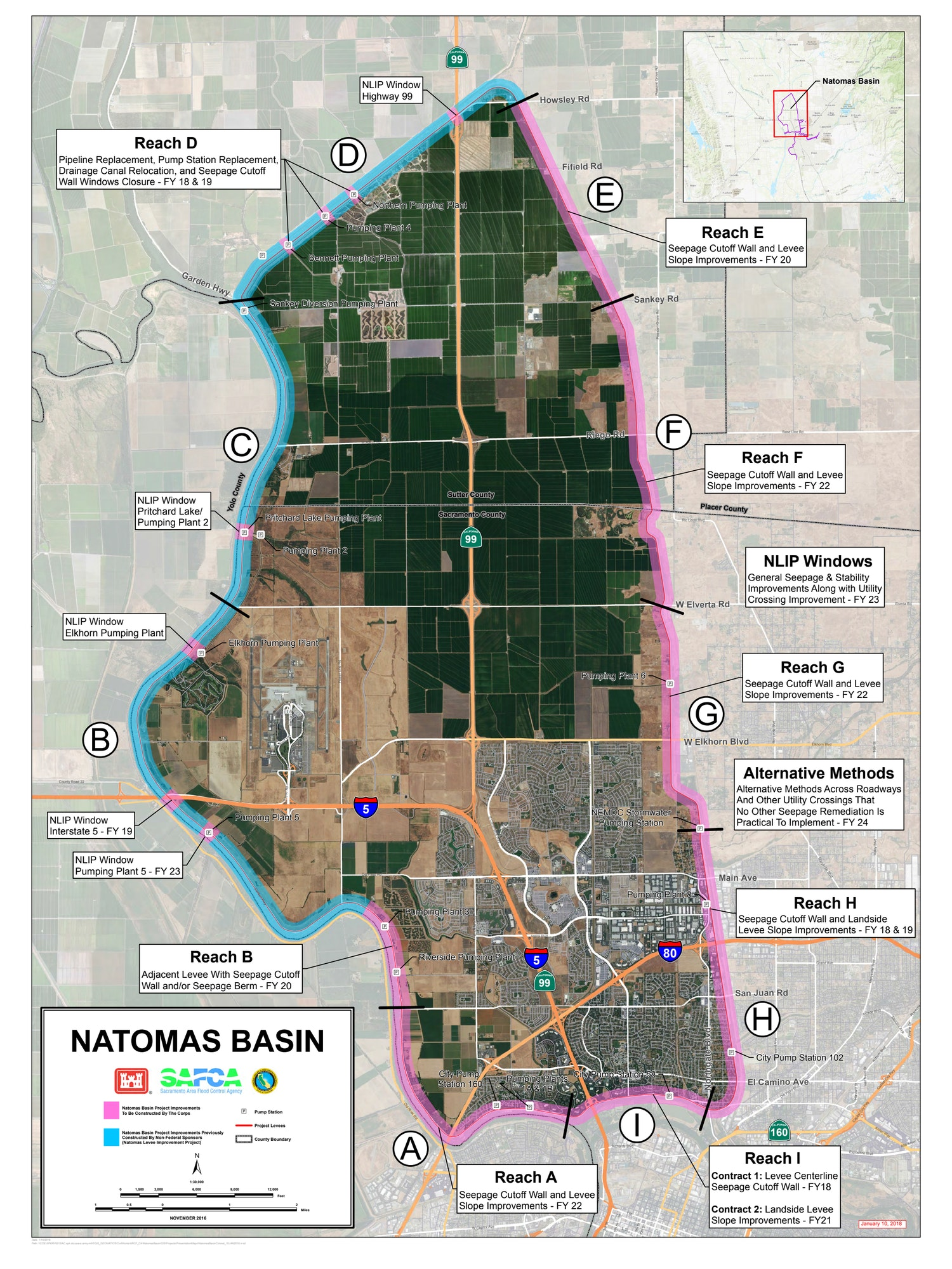Map of the Natomas Basin showing project segments