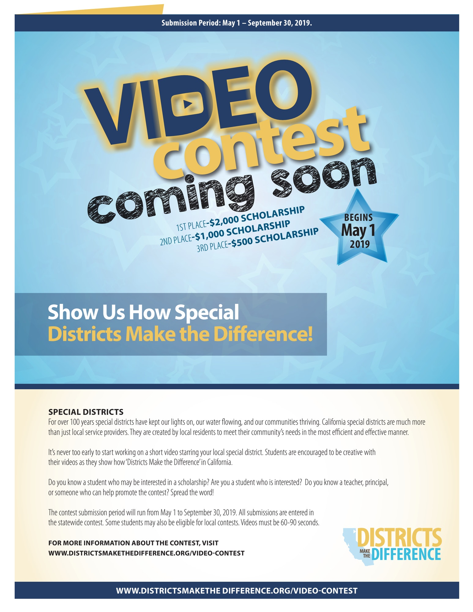 Video Contest flyer for scholarship opportunity featuring special districts