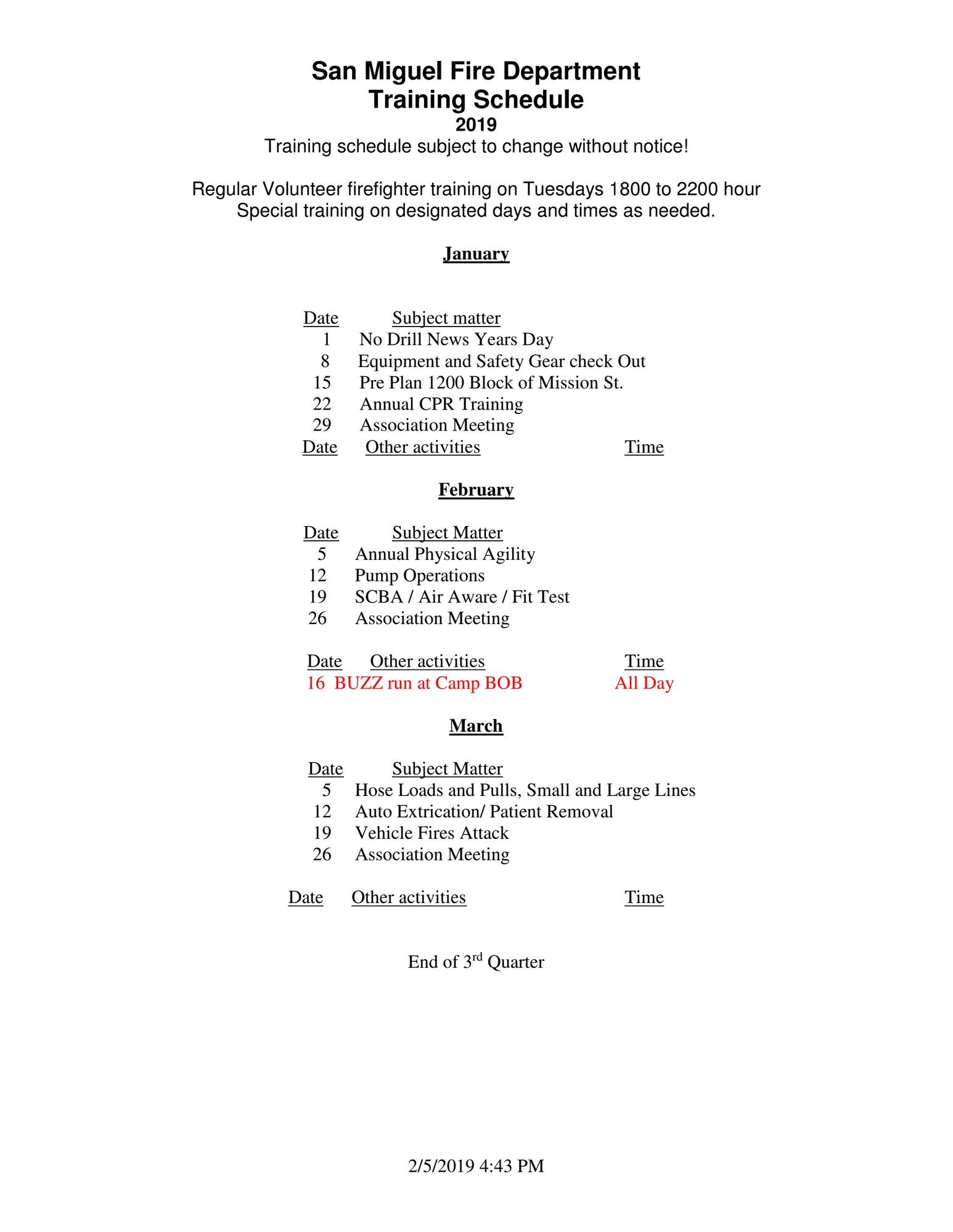 2019 Training Schedual