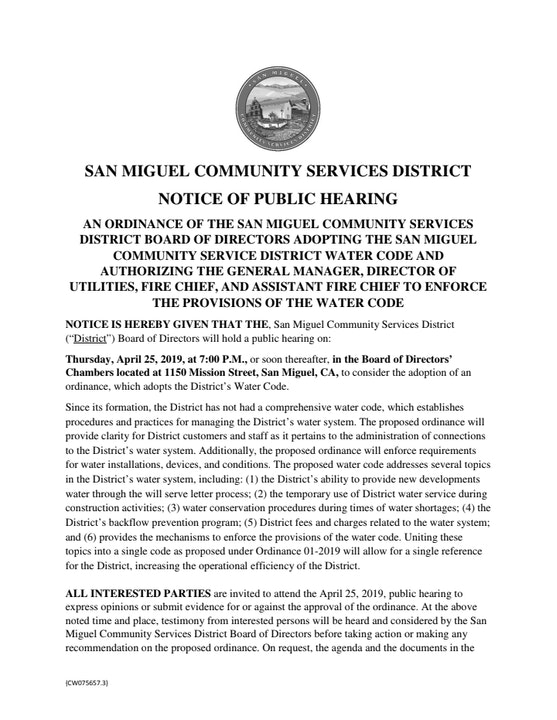 Public Hearing Notice for Fire Code April 25 @7pm