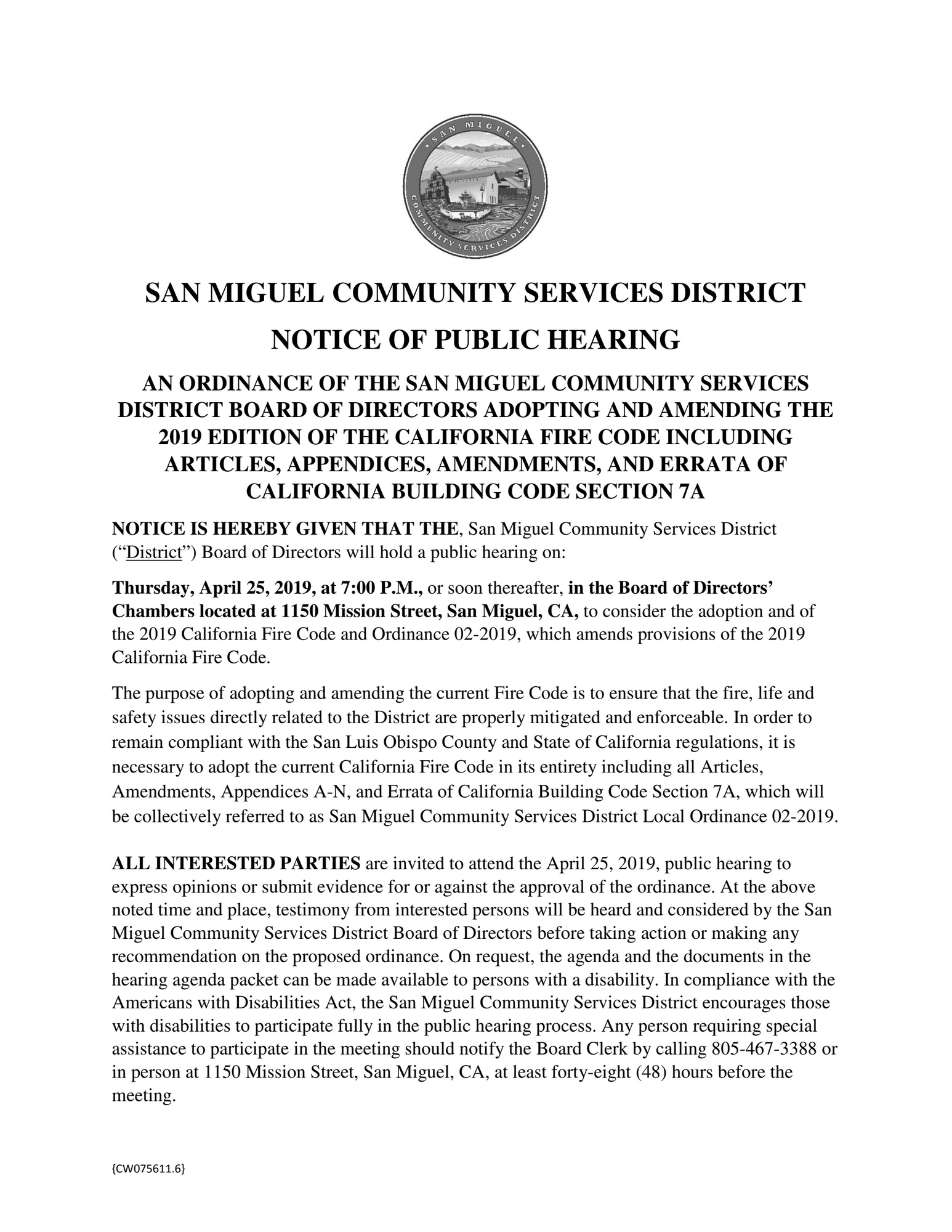 Public Hearing Notice for SMCSD Fire Code April 25 @7pm