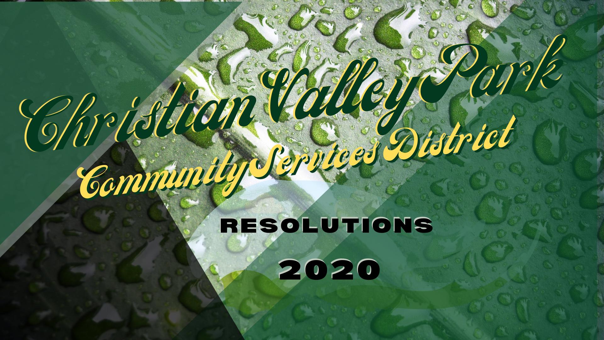 Christian Valley Park CSD RESOLUTIONS 2020