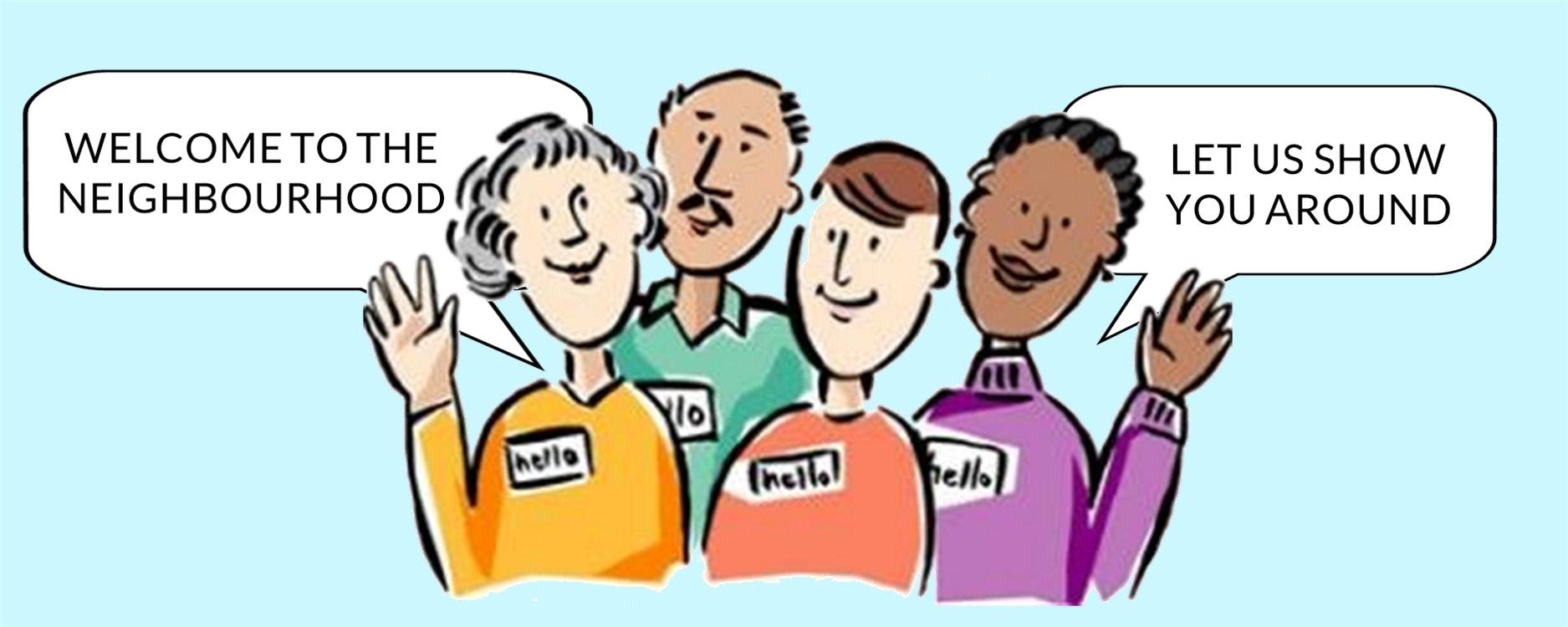 Cartoon 4 figures welcoming to the neighborhood