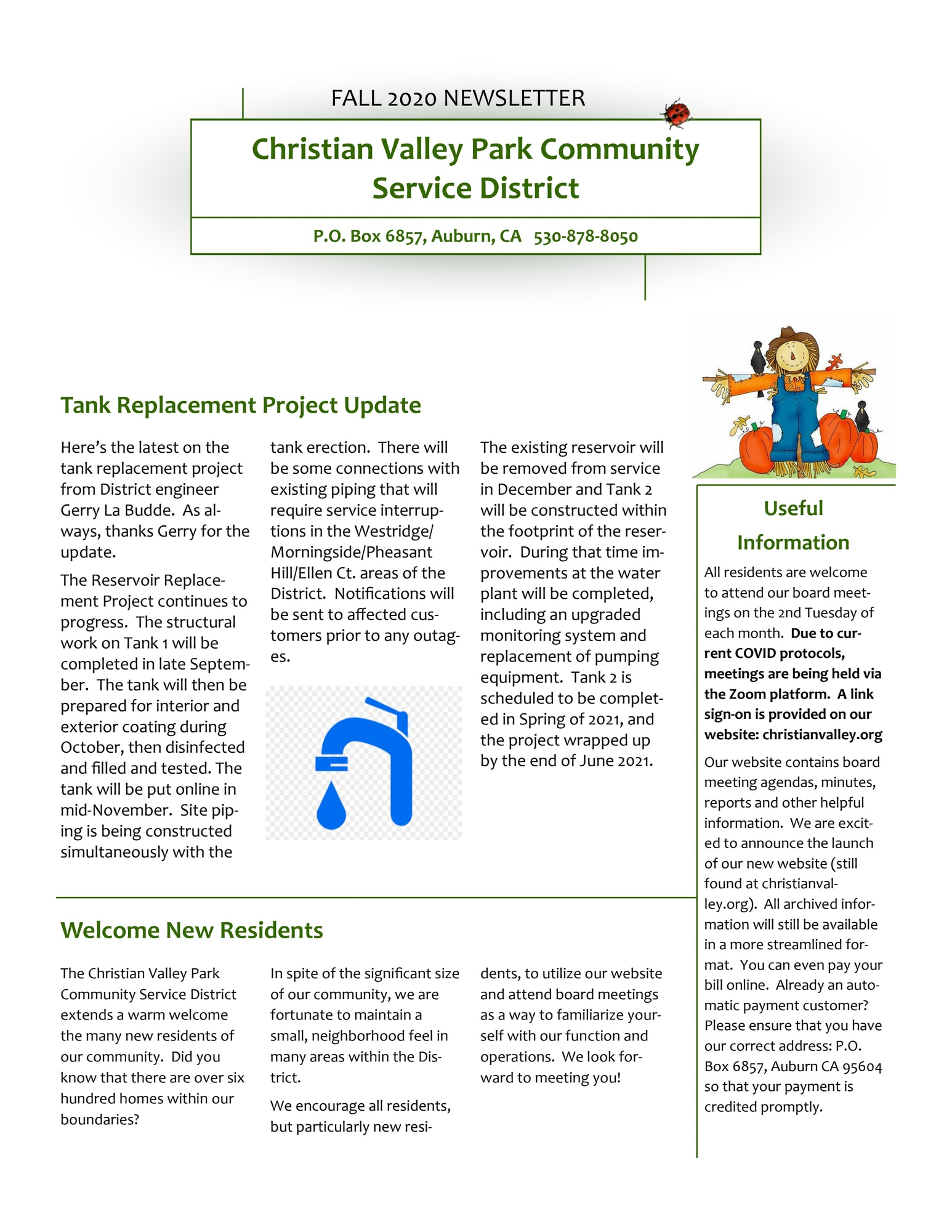 PDF image of the CVPCSD October 2020 Quarterly Newsletter page 1 of 2