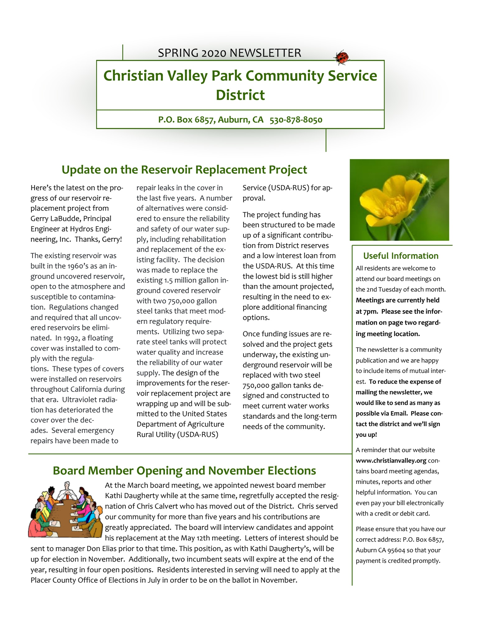 PDF image of the CVPCSD April 2020 Quarterly Newsletter page 1 of 4