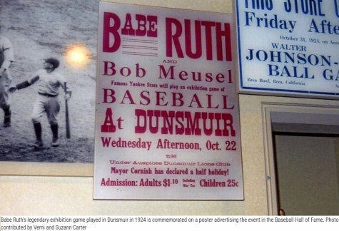 Poster Babe Ruth playing baseball with locals in Dunsmuir.