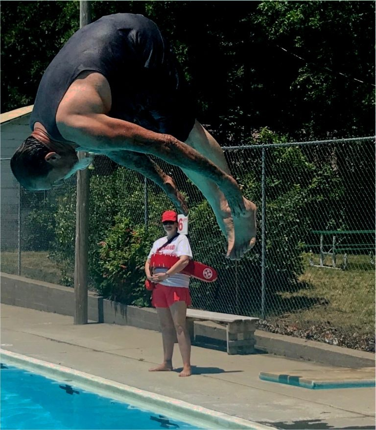 Councilman Big Dave doing a fancy first dive from board into pool for opening day 2019