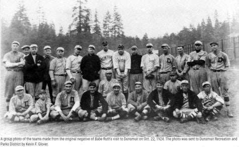 Babe Ruth with local adult baseball team lined up for picture.