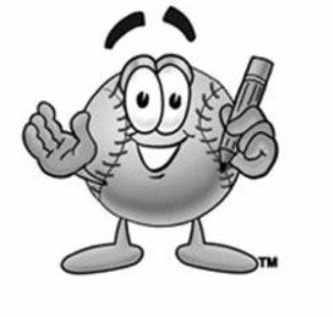 drawn image of a baseball with hands, pencil, eyes, mouth and eyebrows above the head of the baseball. Feet are on bottom of the ball..