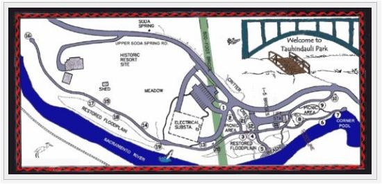 Map showing railroad, river, Tauhindauli Park frontage entrance road, freeway and a number by each picture location.