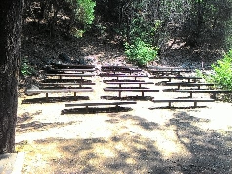 Wood benches at Amphitheater along Sacramento River and scattered trees.