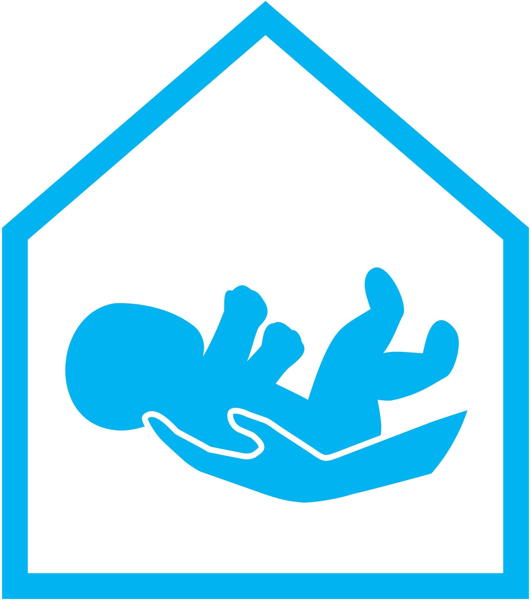 sign, infant in hands, safe surrender site logo, baby blue and white logo