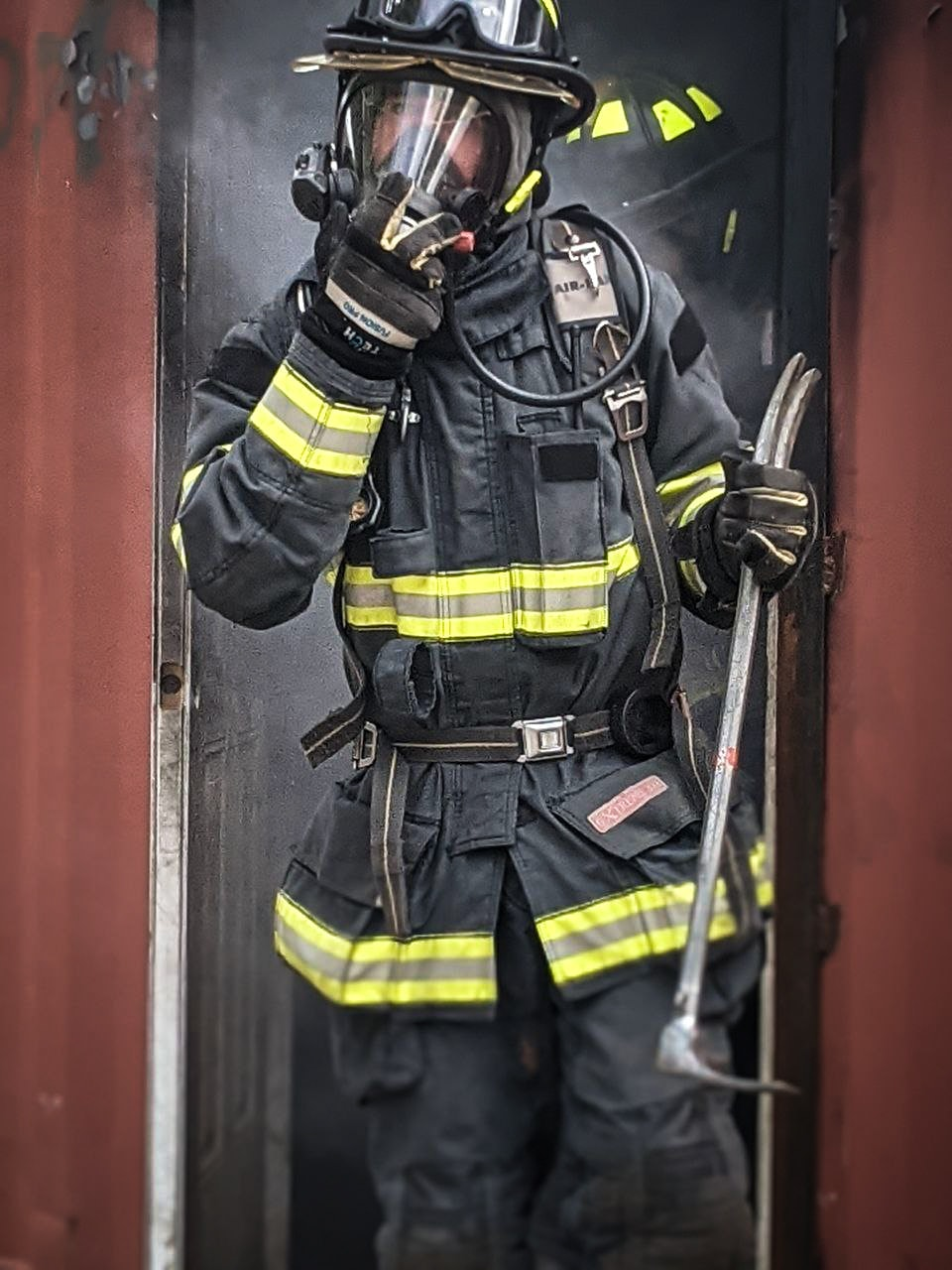 May contain: helmet, clothing, apparel, person, human, and fireman